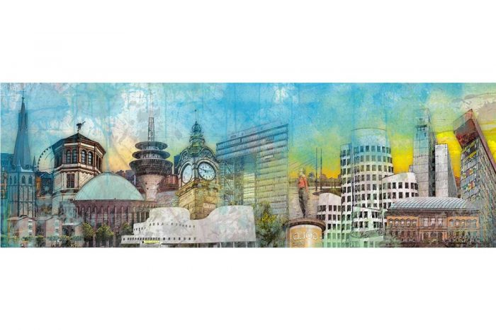 Stadt Collage Düsseldorf am Rhein. Panorama Bilder und Skyline Motive