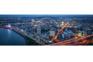 Stadt Panorama Düsseldorf am Rhein| Bild der Lichter bei Nacht