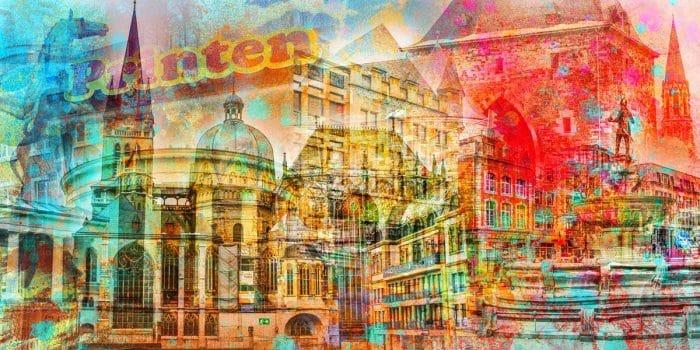 Stadtcollage Aachen Motive und Kunstbilder Aachener DOM und Altstadt