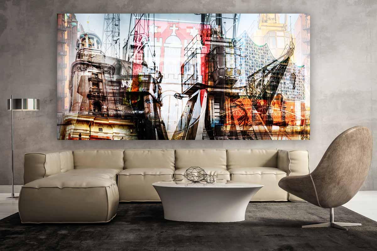 wahrzeichen hamburg kunst collage im xl panorama format auf acryl. Black Bedroom Furniture Sets. Home Design Ideas