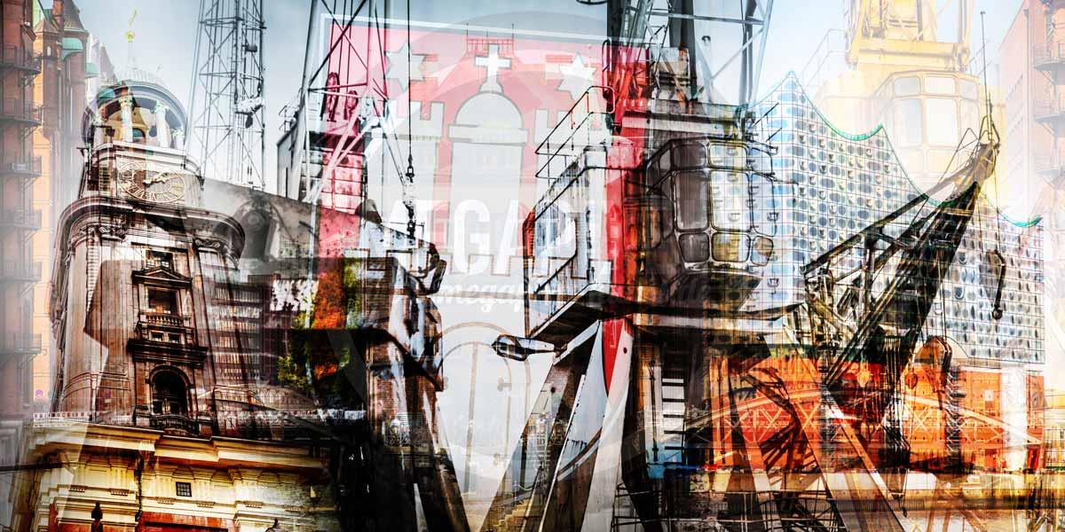 Wahrzeichen Hamburg Kunst Collage Im Xl Panorama Format Auf Acryl