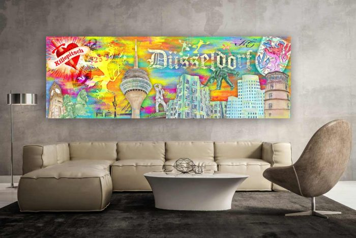 Wandbild Düsseldorf Collage. Abstrakte Leinwandbilder und Kunstdrucke