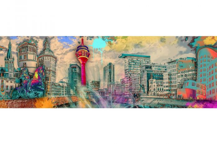 Wandbilder Düsseldorf im Pop-Art Style als Leinwandbilder und auf Acryl.