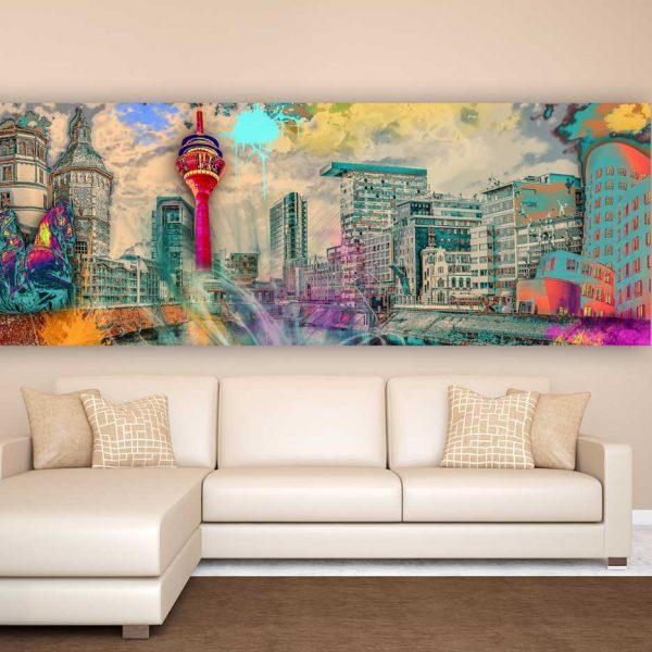 Wandbilder d sseldorf im pop art style als leinwandbilder for Bilder wandbilder