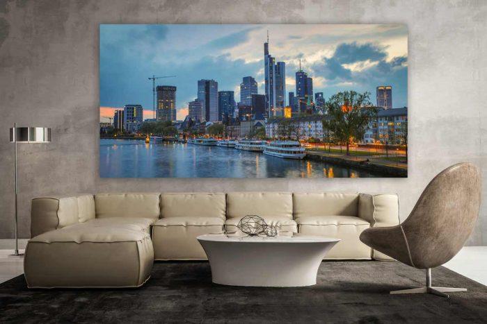 Wandbilder Frankfurt am Main. Moderne Kunst Panorama Motive auf Alu