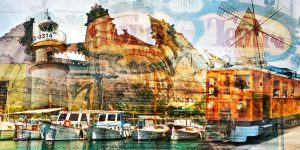 Wandbilder Mallorca im exclusiven Pop-Art Panorama Kunst Design.