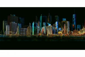 Wandbilder New York | Skyline Collage der Stadt am Hudson River