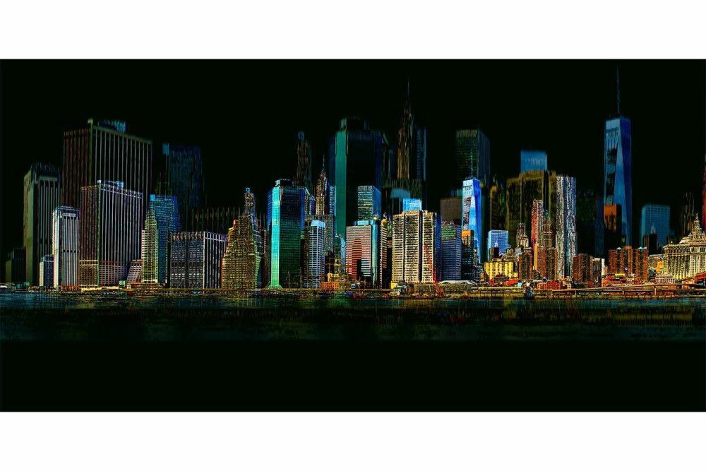 Wandbilder new york skyline collage der stadt am hudson for Wandbilder de