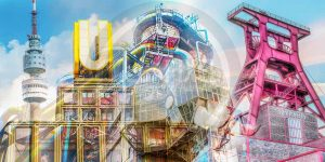 Wandbilder Ruhrgebiet im Pop-Art Design. Moderne Kunst Bilder auf Acryl