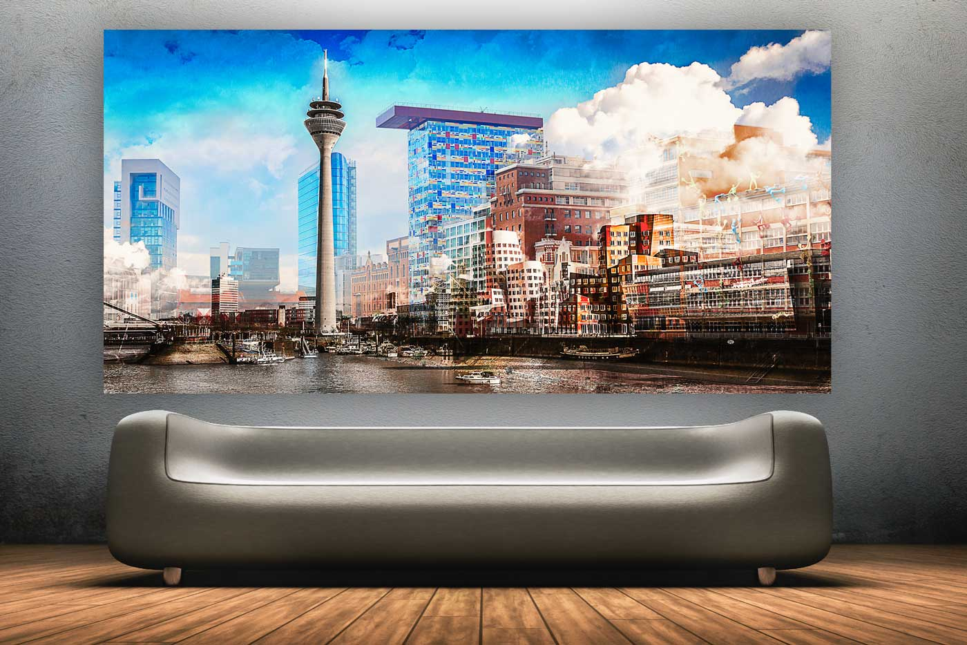 collage medienhafen d sseldorf panorama kunstbilder und pop art. Black Bedroom Furniture Sets. Home Design Ideas