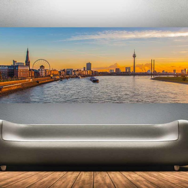 panorama bilder aus d sseldorf skyline mit rheinturm und medienhafen d sseldorf panorama pop. Black Bedroom Furniture Sets. Home Design Ideas