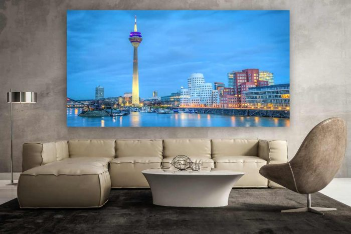 Leinwandbild Düsseldorf Panorama des Medienhafen Düsseldorf