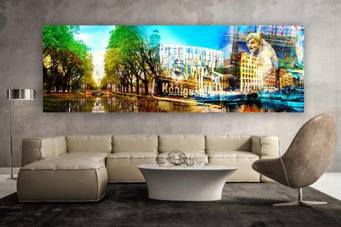 Königsallee Düsseldorf Kunst Panorama Collage | Modernes Stadt Bild im Xl Skyline Design