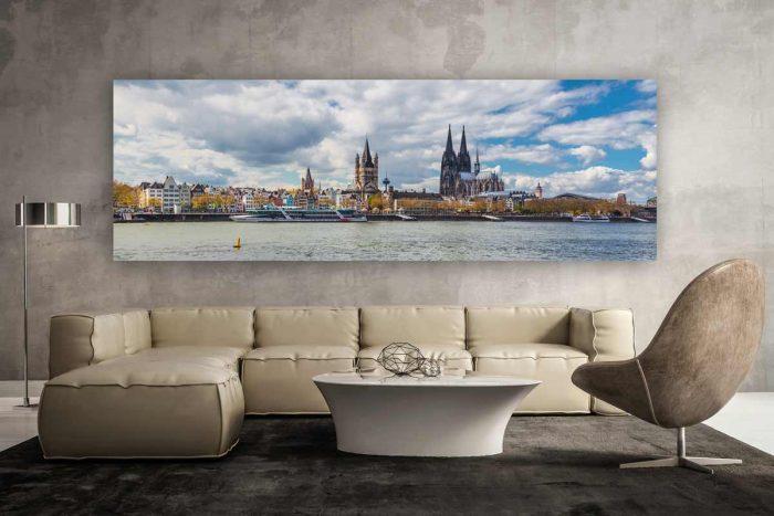 Panorama Bild Köln | Sommer an DOM und Rhein Motiv