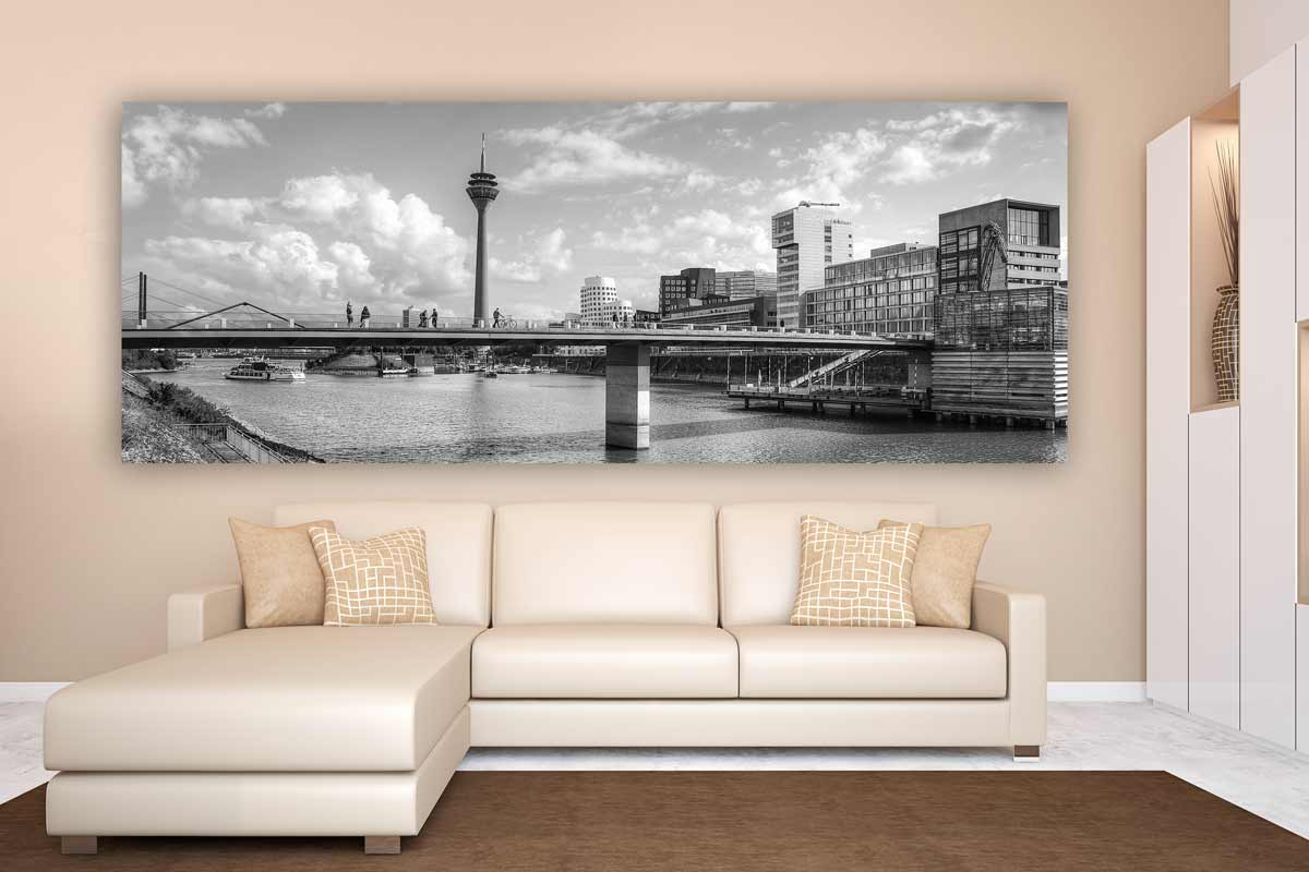 schwarz weiss d sseldorf am rhein kunstwerk modern panorama. Black Bedroom Furniture Sets. Home Design Ideas