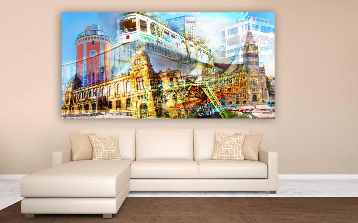 schwebebahn wuppertal kunst collage modernes design panorama bild panorama pop art kunst. Black Bedroom Furniture Sets. Home Design Ideas
