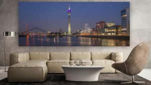 Hafen Düsseldorf als Nachtpanorama Bild | Skyline Kunst Bilder aus dem Medienhafen Düsseldorf