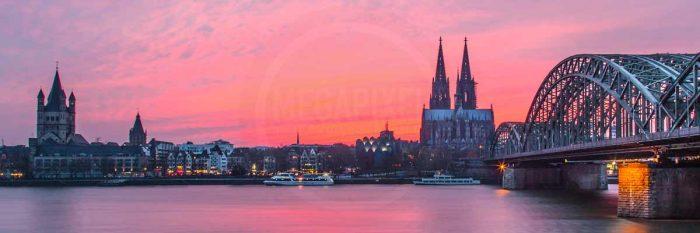 Köln Bild Skyline der Domstadt | Panorama Foto Kunst Motiv mit Rhein, DOM , und Brücke