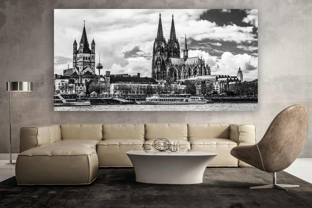 Schwarz Weiss Koln Panorama Bild Moderne Kunst Aus Der Domstadt