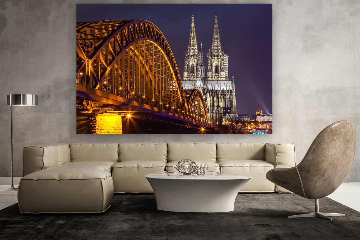 fotokunst k ln panorama bei nacht k lner skyline mit rhein. Black Bedroom Furniture Sets. Home Design Ideas