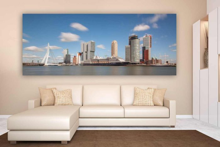 Panorama Rotterdam | Kunst Skyline Bild mit moderner Architektur