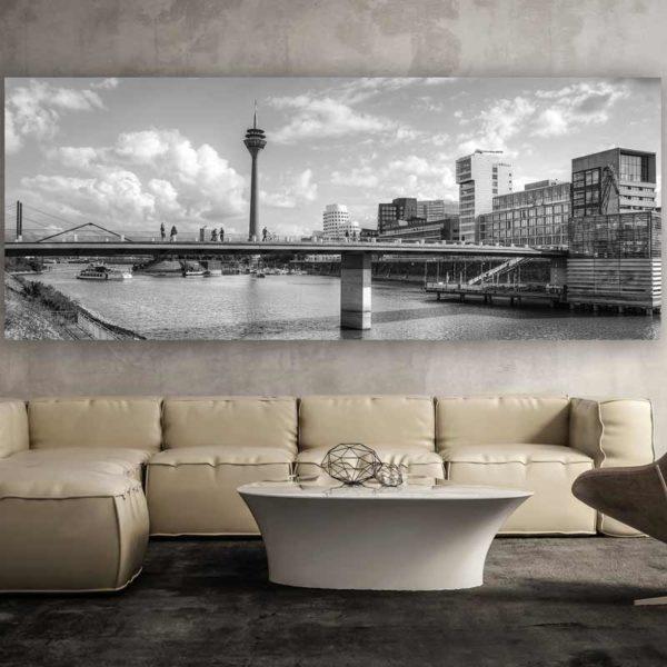 schwarz weiss d sseldorf am rhein kunstwerk modern panorama. Black Bedroom Furniture Sets. Home Design Ideas