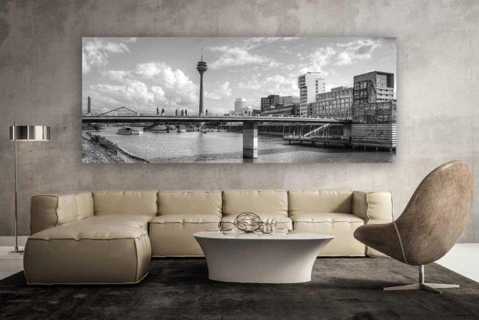 Schwarz-weiss Düsseldorf am Rhein Kunstwerk | Modern Panorama