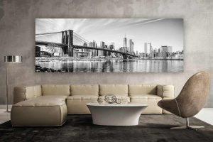 New York schwarz-weiss Panorama Kunstwerk | Modern Art Design
