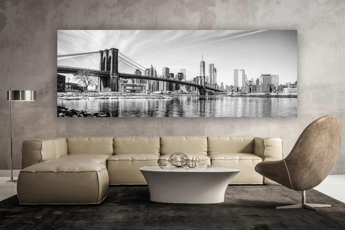 new york schwarz weiss panorama kunstwerk modern art design. Black Bedroom Furniture Sets. Home Design Ideas
