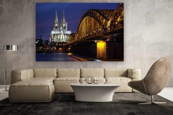 Panorama Köln bei Nacht | Moderne Foto Kunst der Skyline der Stadt Köln mit DOM und Rhein