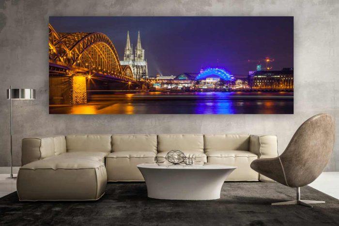 Köln Bild mit dem Kölner DOM und der Hohenzollernbrücke | Kunst Nachtpanorma aus der Domstadt