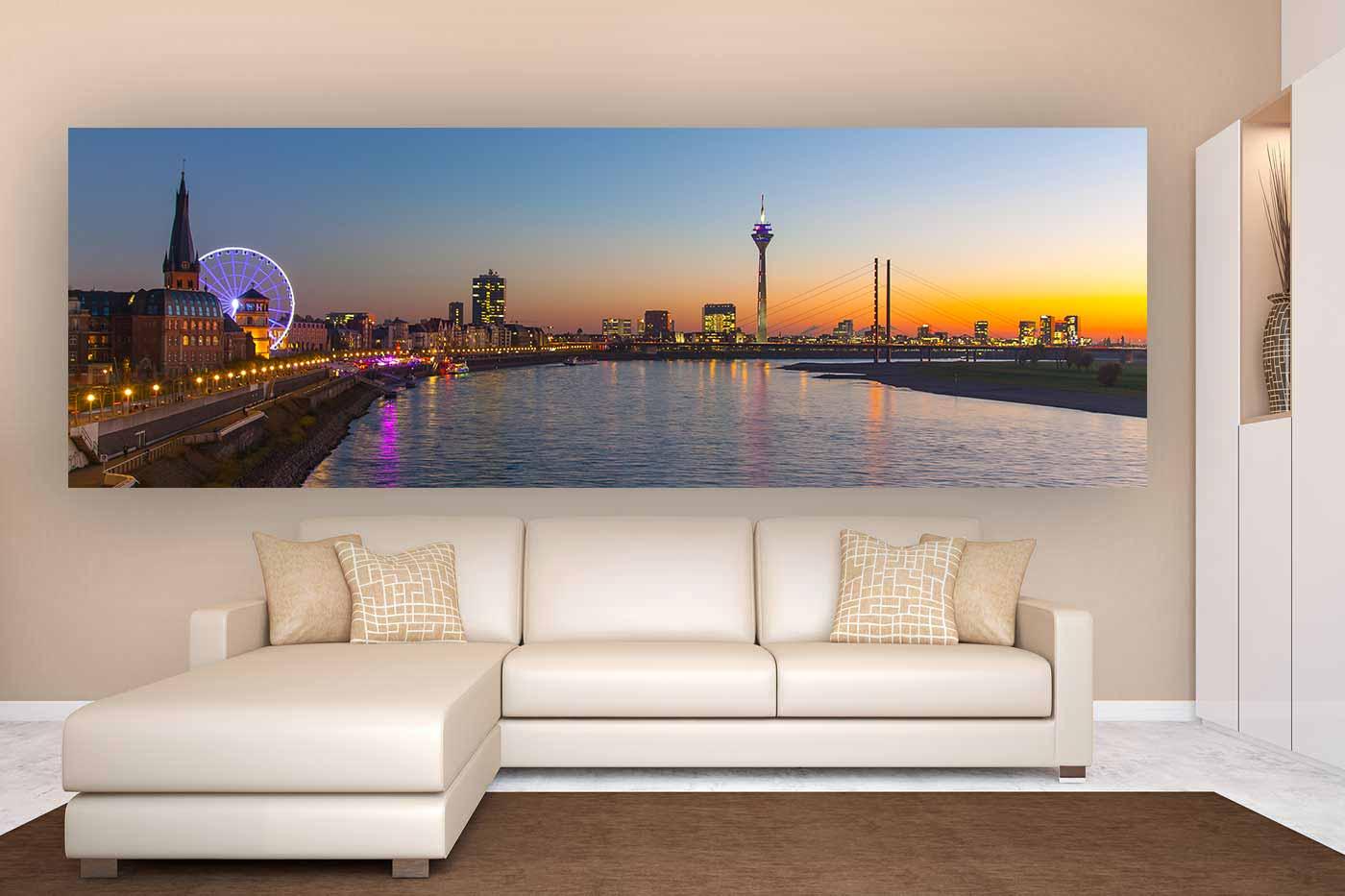 A Skyline Panorama Art Picture| Riesenrad Düsseldorf an der Rheinpromenade