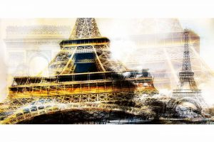 Paris c'est belle | XXL Kunst Collage Eifelturm im Panorama Format