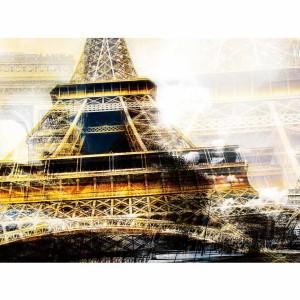 Paris c'est belle | XXL Kunst Collage Eifelturm im Panorama Format