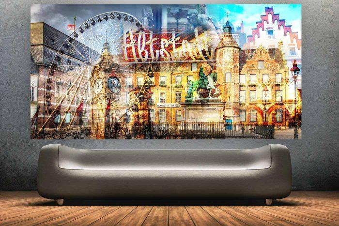 Pop Art Collage Altstadt Düsseldorf | Moderne Düsseldorf Panorama Collage aus der Altstadt