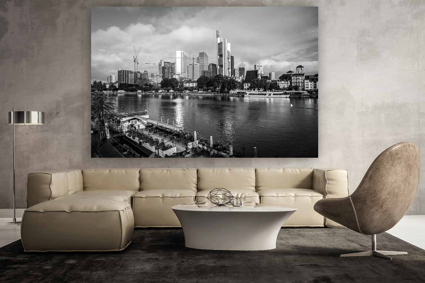 frankfurt skyline und panorama kunst bild in schwarz und. Black Bedroom Furniture Sets. Home Design Ideas
