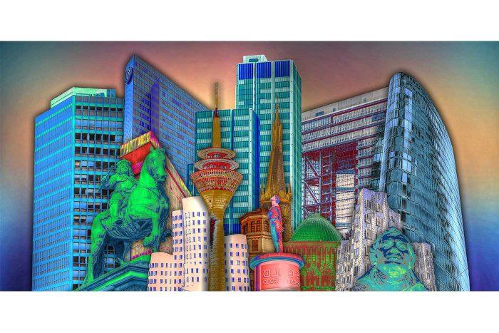 Think BIG in Düsseldorf| Kunst Collage Düsseldorf mit allen Stadt-Highlights