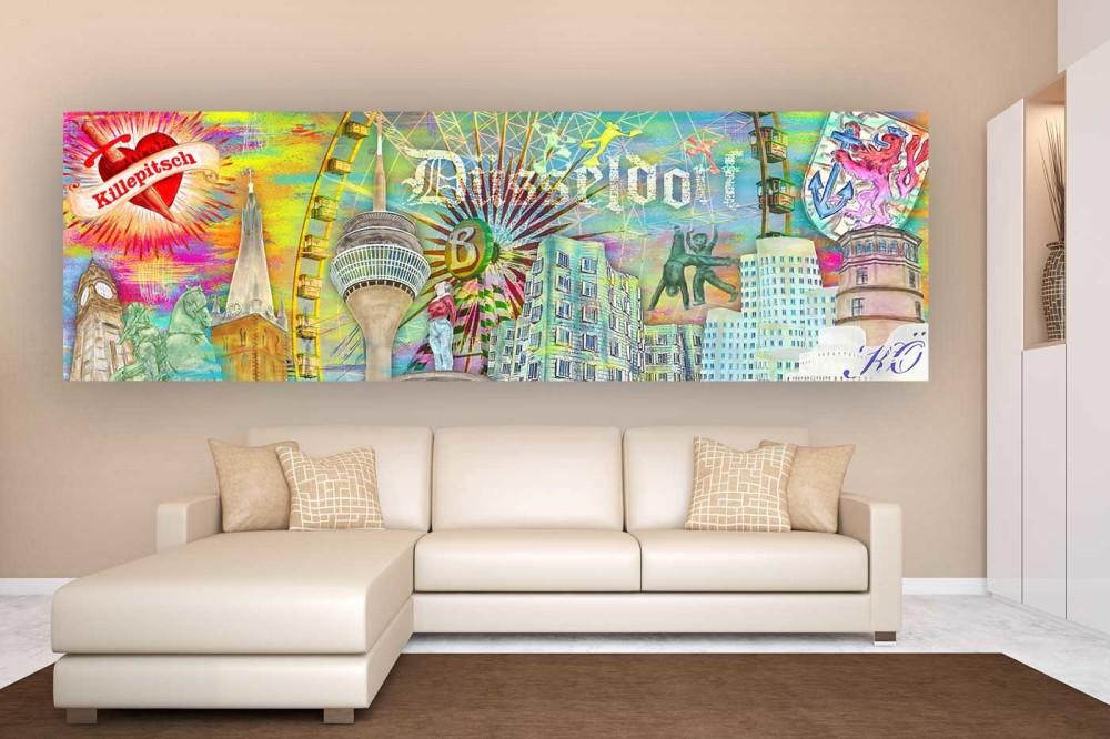 Kunst Collage Düsseldorf für deine Wand | Moderne Panorama Fotokunst Bilder