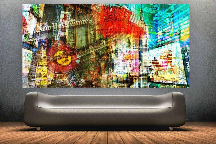 Pop Art Collage New York| Panorama Pop Art Kunst Bild aus New York, Modernes Kunst Motiv aus New York
