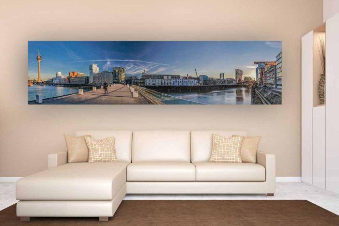 Medienhafen Düsseldorf Panorama Bild | Kunst Motiv auf Leinwand, Acryl und AluDiBond