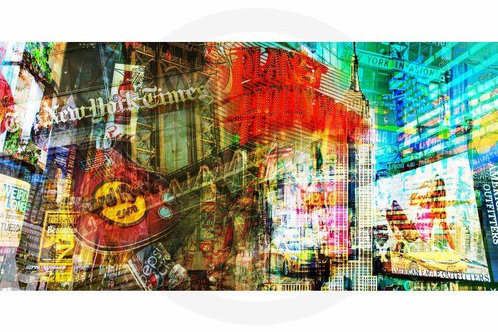Acrylbild New York Stadt Panorama Pop-Art Design, auch auf Leinwand