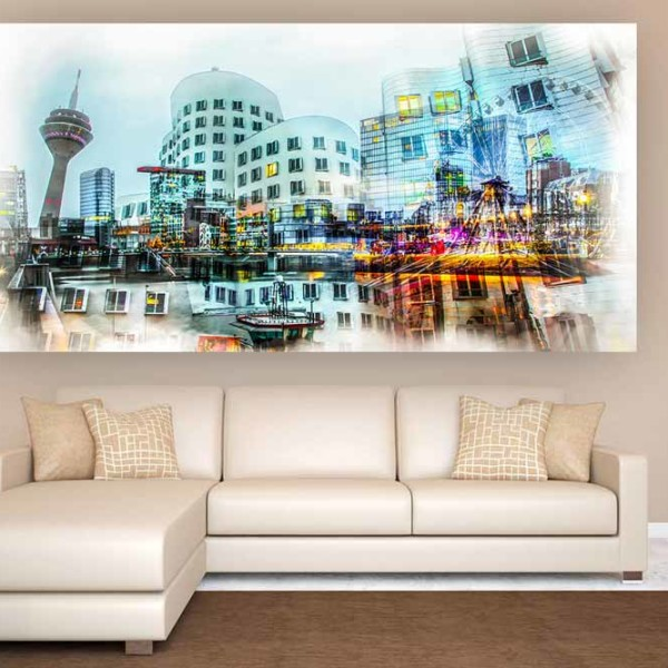 collage pop art made in d sseldorf panorama fotokunst collage und skyline d sseldorf bild mit. Black Bedroom Furniture Sets. Home Design Ideas