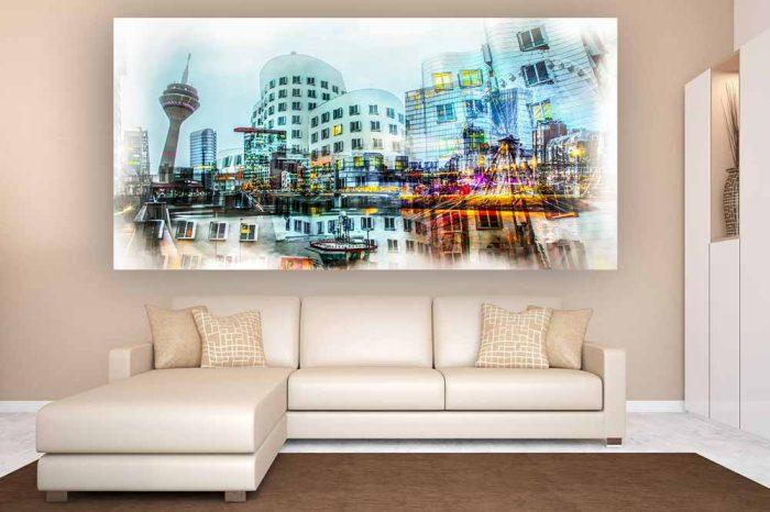 @ Pop-Art Kunst Collage Made in Düsseldorf | Panorama Fotokunst Collage und Skyline Düsseldorf Bild mit Medienhafen
