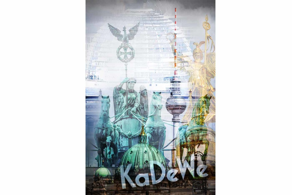 Berlin Pop-Art Collage im Hochformat | Moderne Pop-Art Kunst aus Berlin, Art Made in Berlin