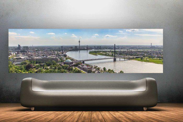 Rhein Skyline Düsseldorf von oben | Beste Stadt am Rhein Panorama Bild