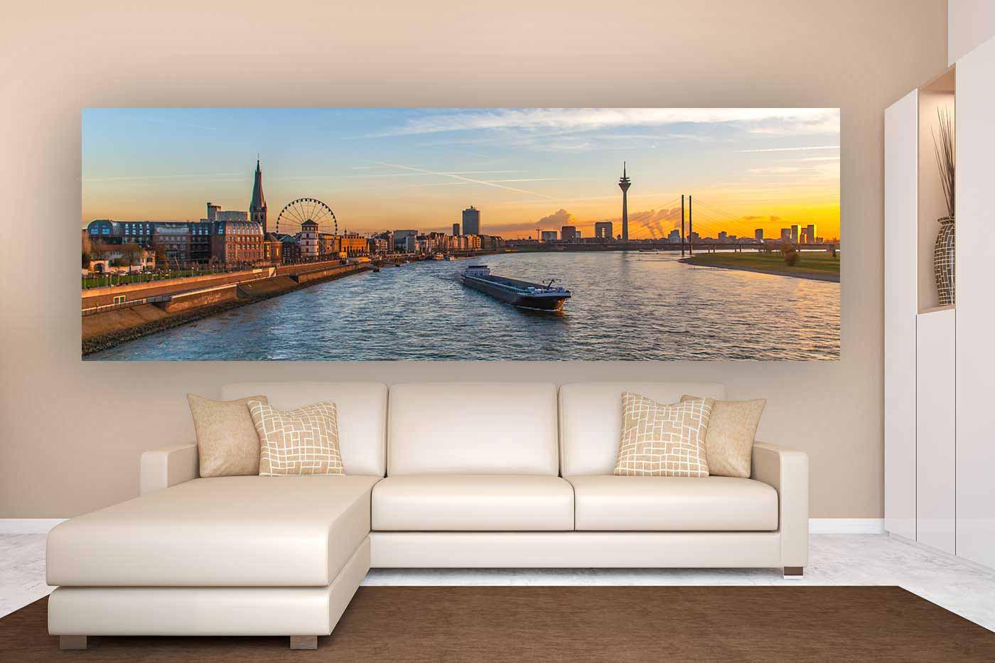 panorama bild d sseldorf als modernes wandbild auf leinwand und acryl. Black Bedroom Furniture Sets. Home Design Ideas