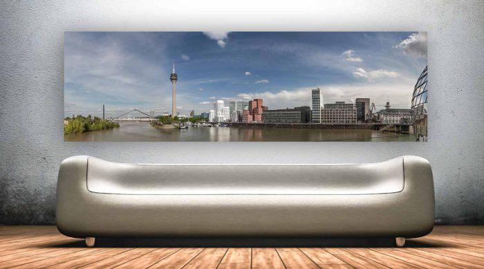 Medienhafen Skyline Panorama Bild - Moderne Fotokunst Hafen Art
