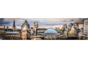 Kunst Panorama Collage Düsseldorf | Tonhalle, Schlossturm, Pegeluhr und Co.