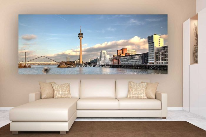 Summer View Harbor Skyline| Panorama Fotokunst Bild im Format 2,5:1