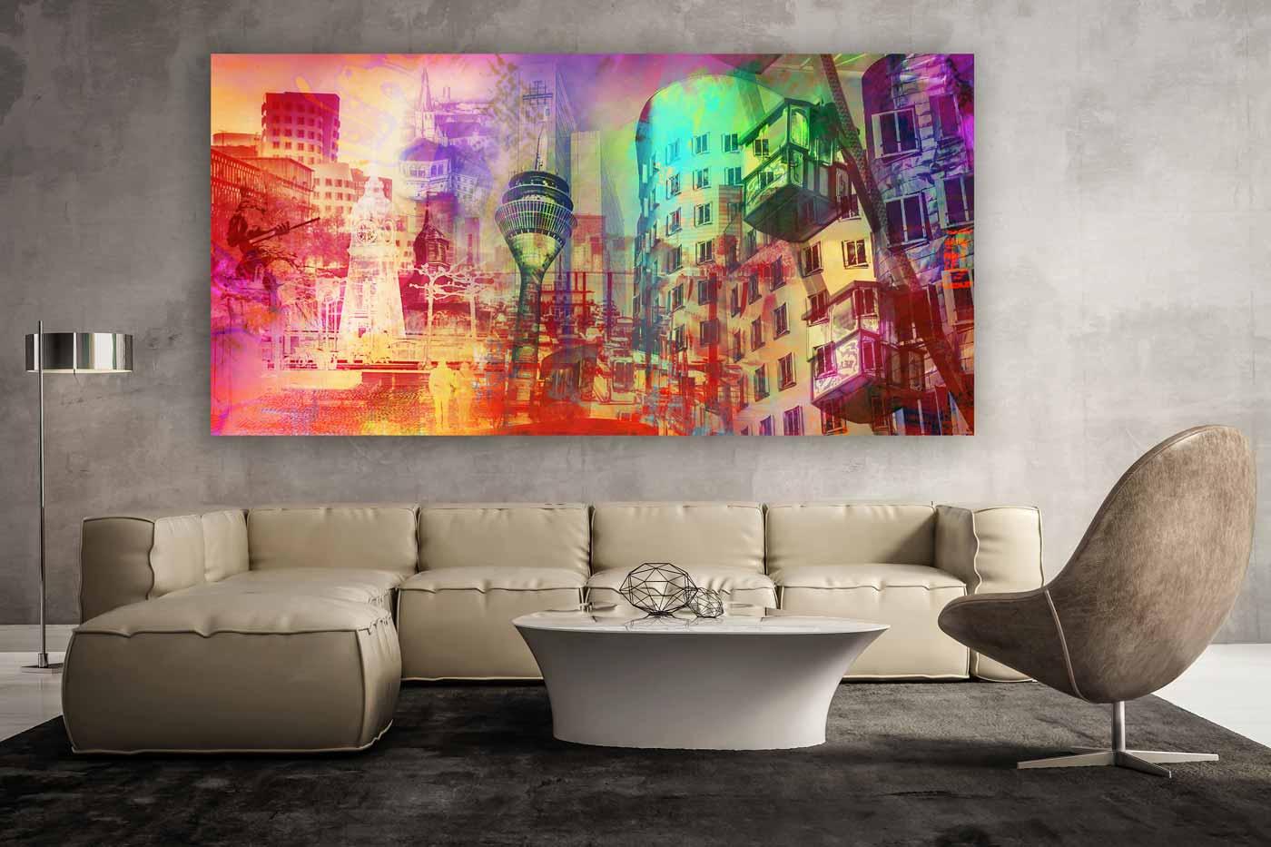 kunst bilder aus d sseldorf als modernes panorama pop art kunst motiv. Black Bedroom Furniture Sets. Home Design Ideas